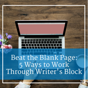blank page on laptop with woman's hand resting on the keyboard