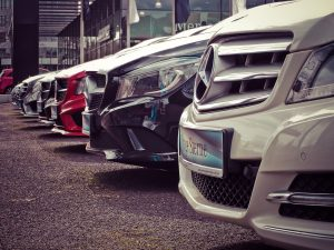 Front grills of brand new Mercedes cars
