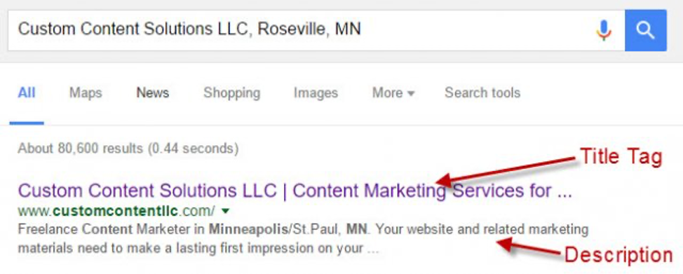 Search results page metadata example