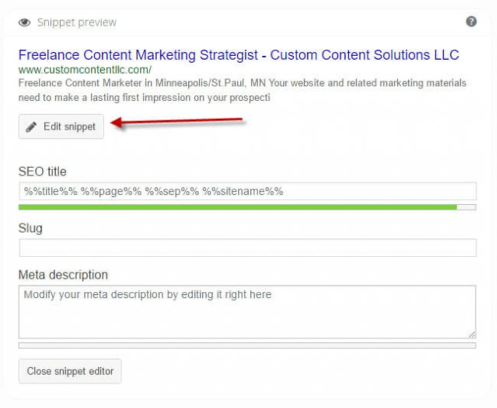 How to edit the SEO snippet in Yoast SEO