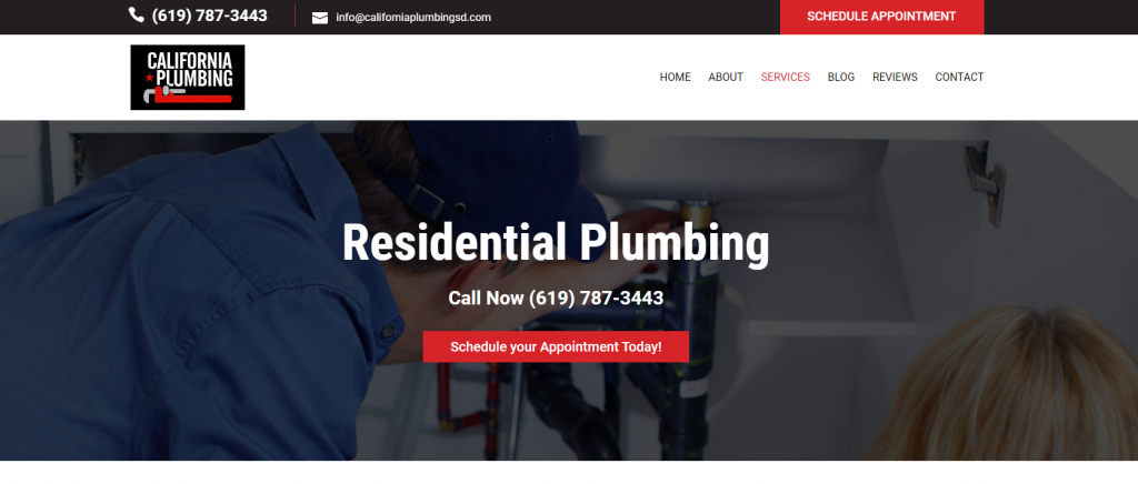 Image shows California Plumbing's Services page and how they've highlighted their call to action in red