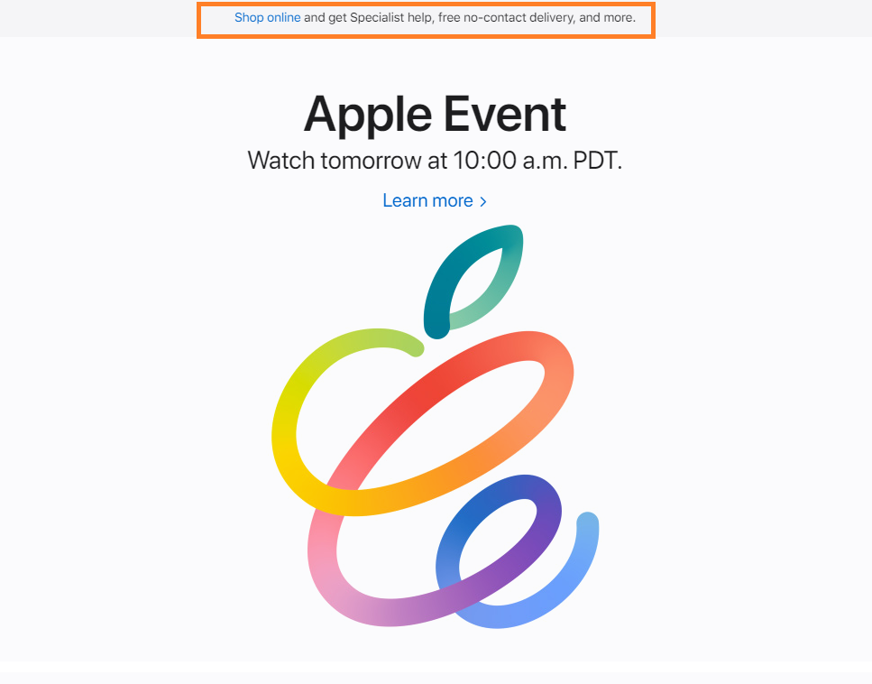 Image shows the Apple home page with emphasis on the shop online button