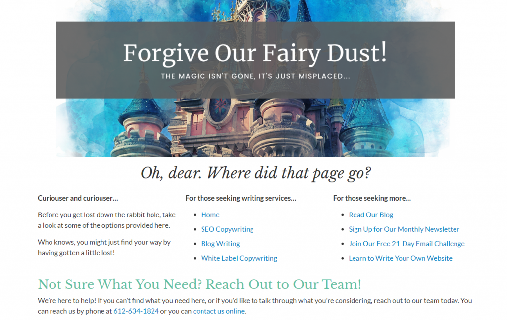 Image shows a view of the Custom Content Solutions 404 page complete with links and a CTA.