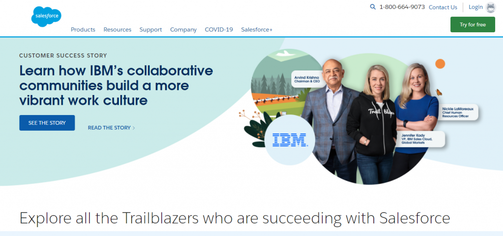 Image shows a screenshot of Salesforce's website