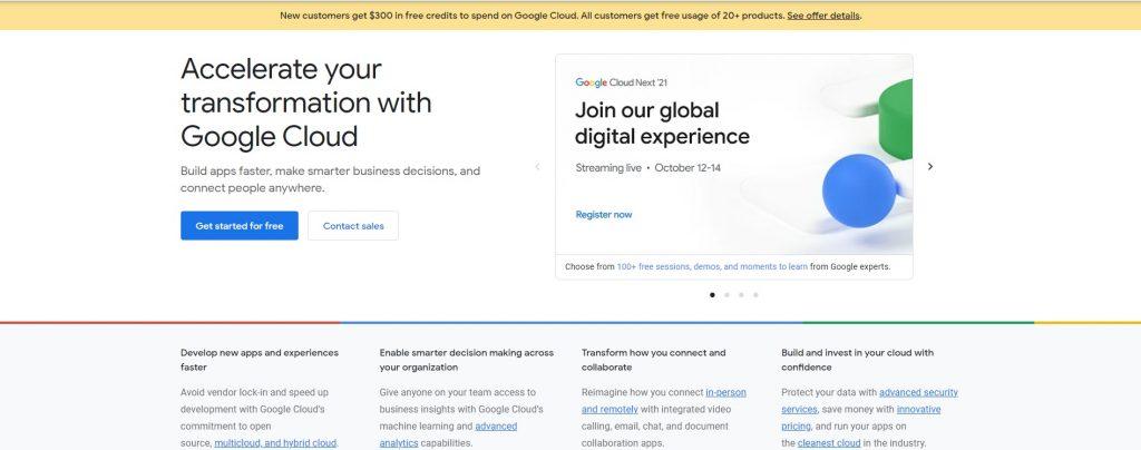 Image shows a screenshot of Google Cloud's webpage