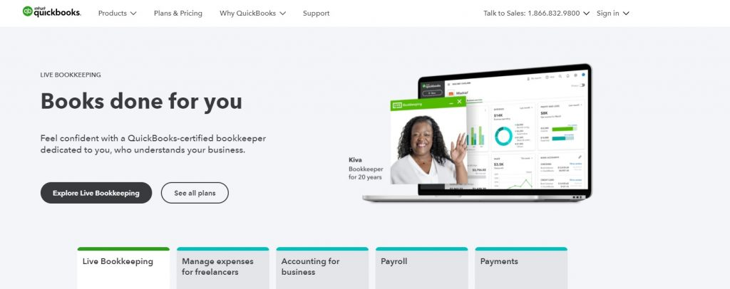 Image shows a screenshot of QuickBooks' website